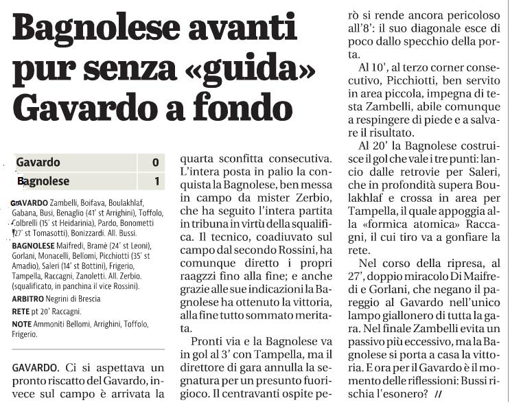 Giornale di Brescia BAGNOLESE