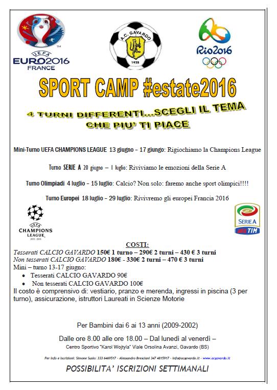 Camp 2016 prezzi