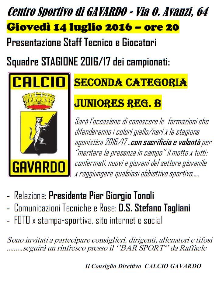 presentazione seconda e juniores 2016-17