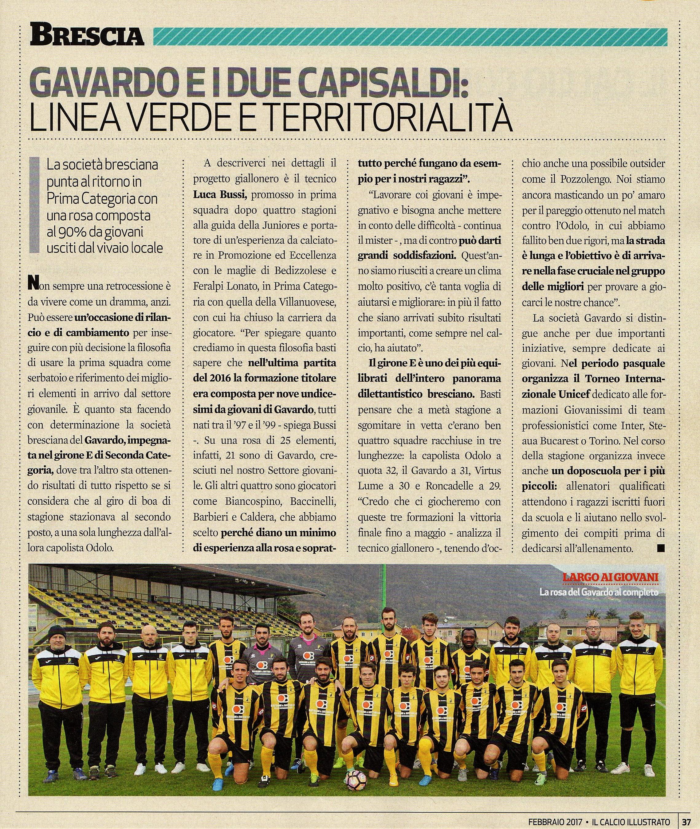 ac GAVARDO - art. Calcio Illustrato febb.2017