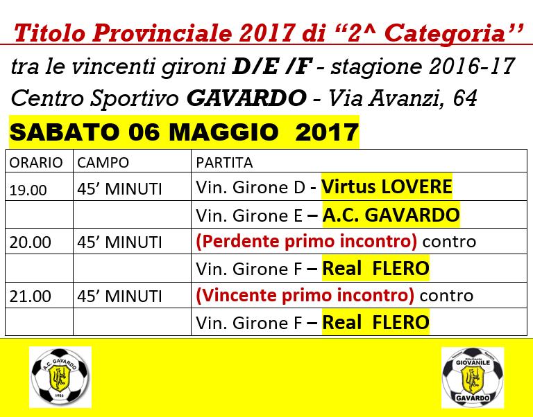 CALCIO Titolo Provinciale 2017 2^ cat