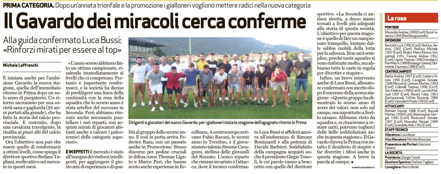 Presentazione calcio GAVARDO 2018..